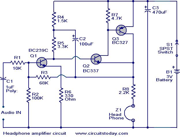 Swell Head Phone Amplifier Circuit Electronic Circuits And Diagrams Mandiz Mohammedshrine Wiring Diagrams Mandizmohammedshrineorg